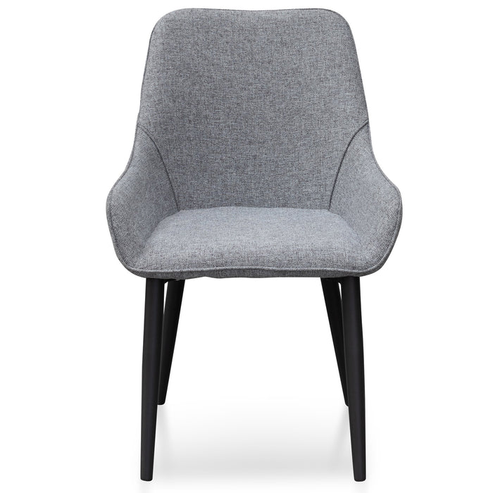 Acosta Fabric Dining Chair - Pebble Grey in Black Legs