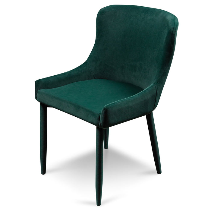 Lozano Velvet Dining Chair - Dark Green