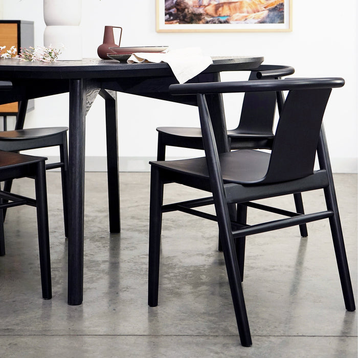 Dean Wooden Dining Chair - Full Black