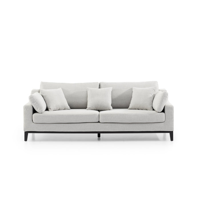 Shari 3 Seater Fabric Sofa - Light Texture Grey with Black Base