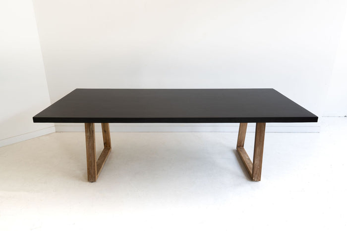 Arlo 2.4m Indoor/Outdoor Black Dining Table - Timber Legs