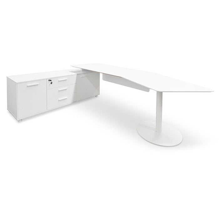 Elite 2.52m Executive Office Desk Left Return - White