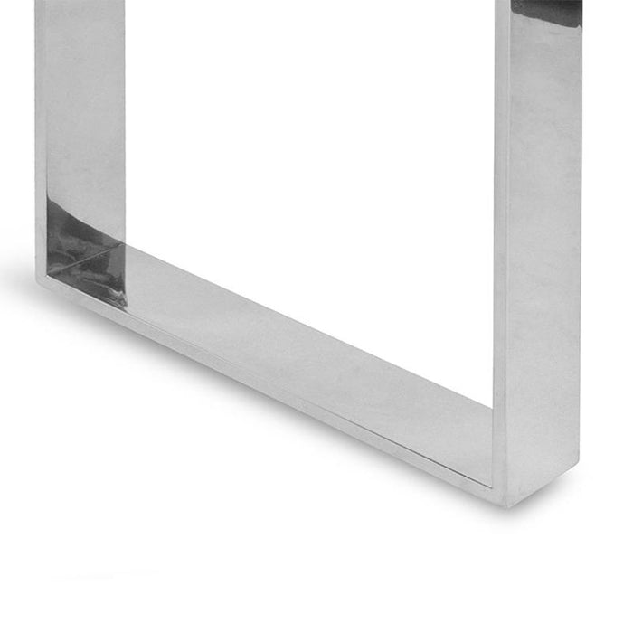 Freder Console Table With Tempered Glass - Polished Stainless Steel