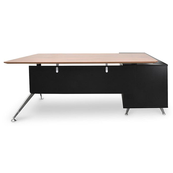 Excel 1.95m Executive Office Desk Left Return - Walnut - Black