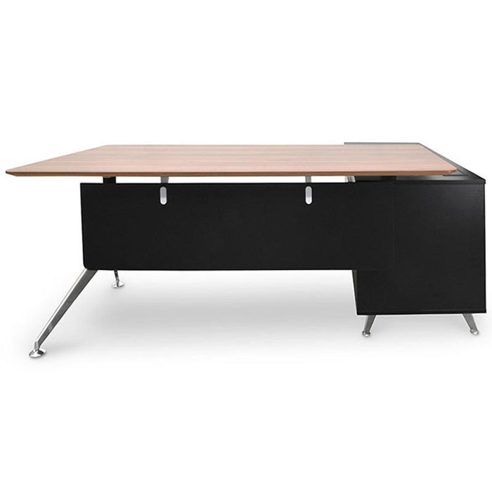 Excel 1.95m Executive Office Desk Right Return - Walnut - Black