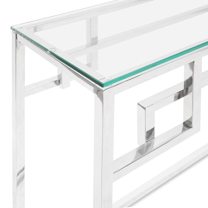 Anderson 1.15m Console Glass Table - Stainless Steel Base