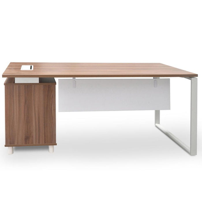Halo 1.8m Executive Desk Right Return - Walnut - White