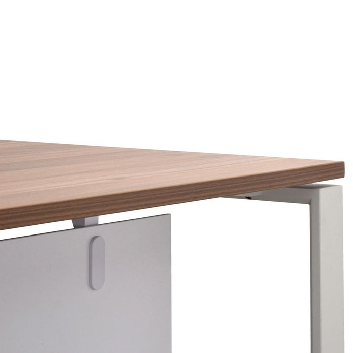 Halo 1.8m Executive Desk Right Return With Upgraded Legs - Walnut - White