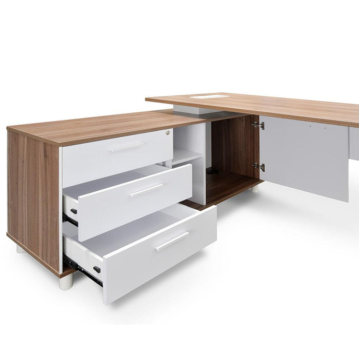 Halo 1.8m Executive Office Desk with Left Return - Walnut