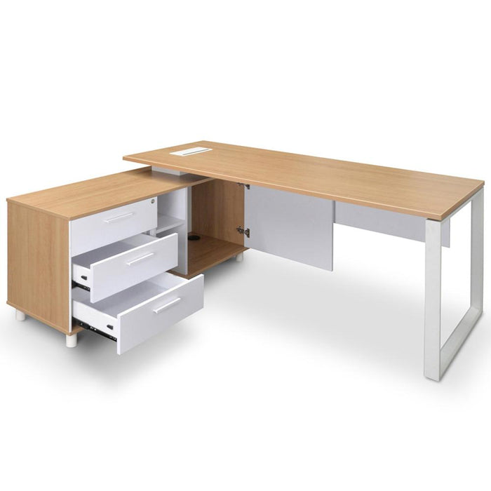 Halo 180cm Executive Office Desk With Left Return - Natural