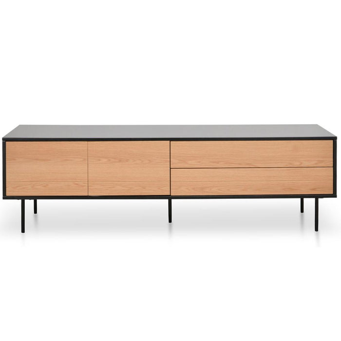 Avenue 180cm TV Entertainment Unit - Natural Oak - Matt Black