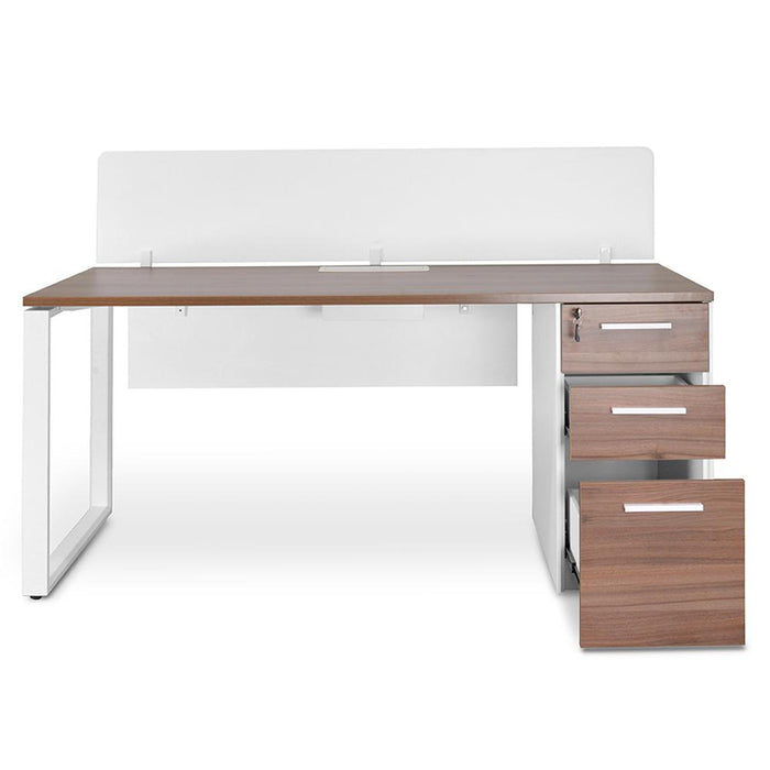 Halo 1 Seater 160cm Office Desk With Privacy Screen - Upgraded Legs - Walnut