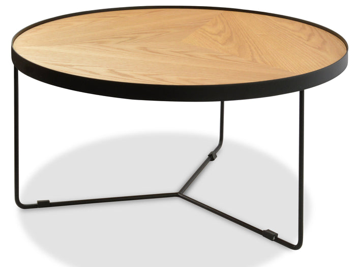 Luna 90x45cm Round Coffee Table - Natural Top - Black Frame