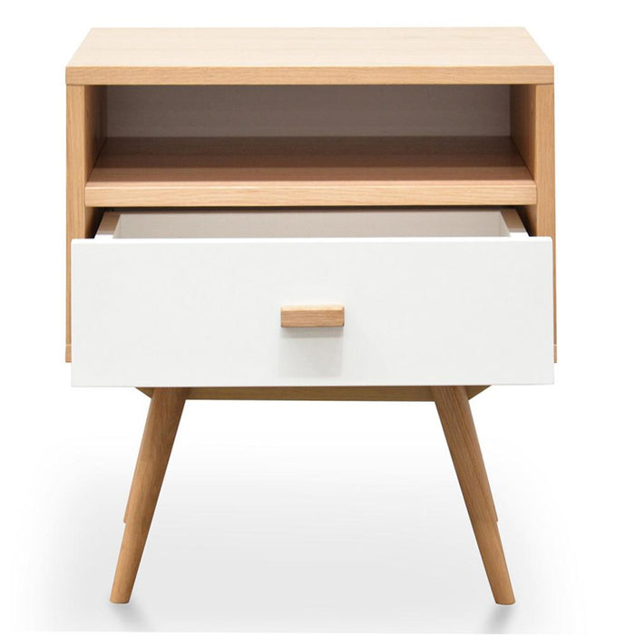 Nichola Wooden Bedside Table - Natural - White
