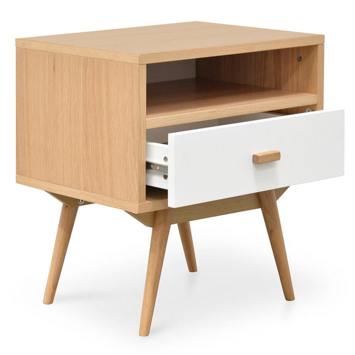 Nichola Bedside Table - Natural - White