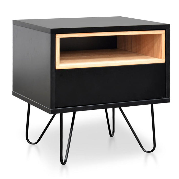 Anthony Wooden Bedside Table - Black