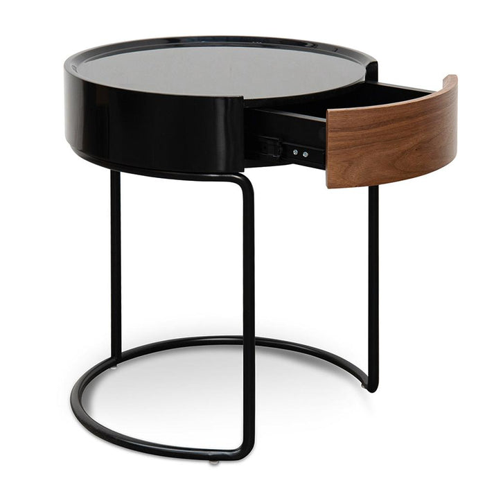 Marcos Scandinavian Round Side Table - Walnut - Black