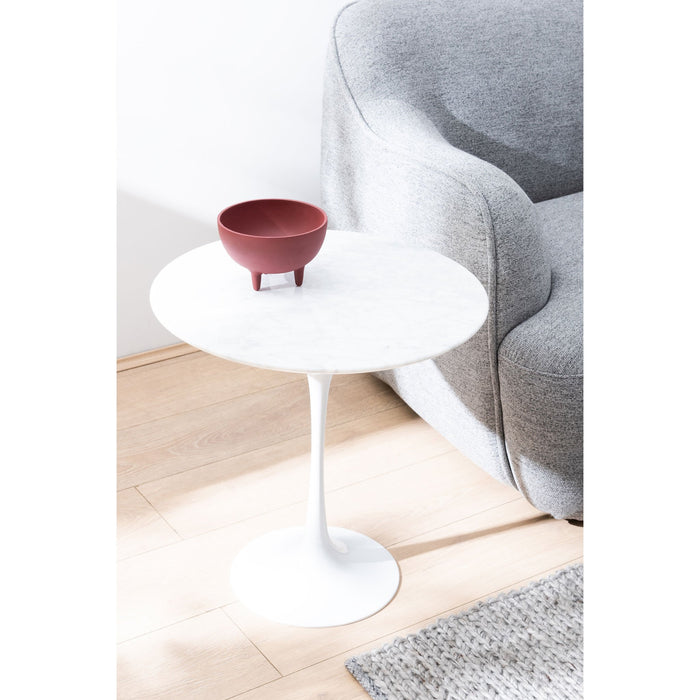 Tulip 50cm Round Marble Side Table - Eero Saarinen Replica - Aluminium