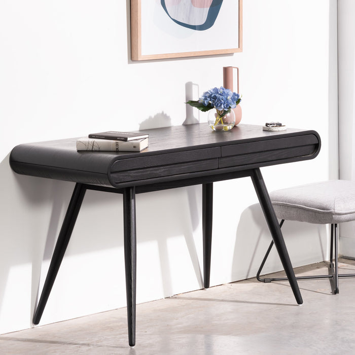 Joshua Narrow Wood Console Table - Black
