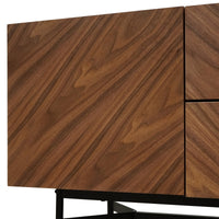 Cliff 180cm Wooden Sideboard Unit In Walnut - Black Legs