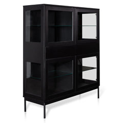 Holmes 120cm 4 Door Storage Cupboard - Black with Glass Door