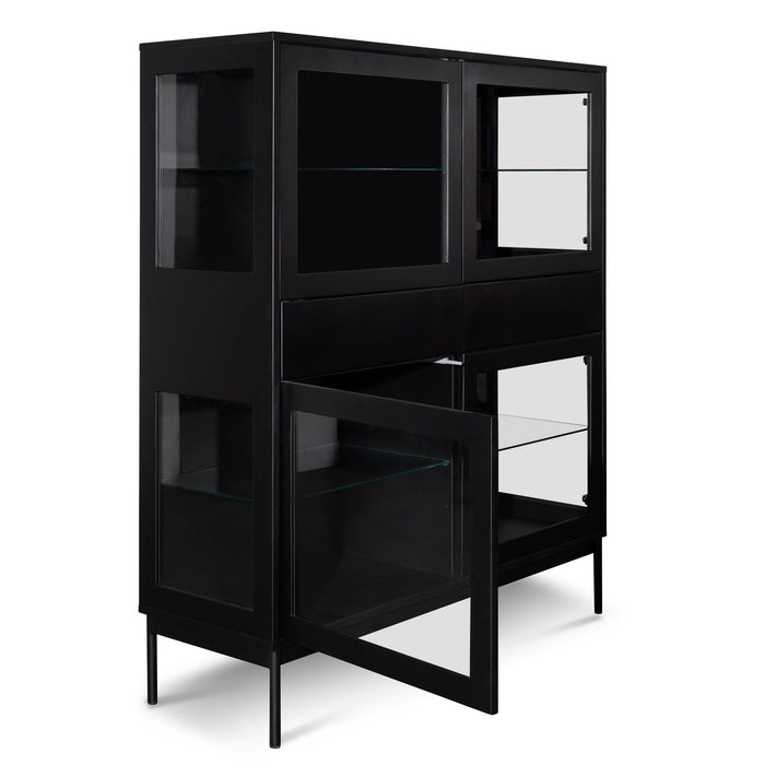 Holmes 120cm 4 Door Wooden Storage Cupboard - Black with Glass Door