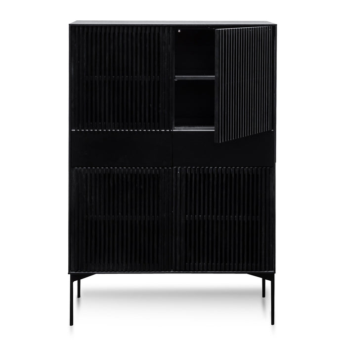 Edmund 2 Door Cabinet with Middle Drawers - Black Oak