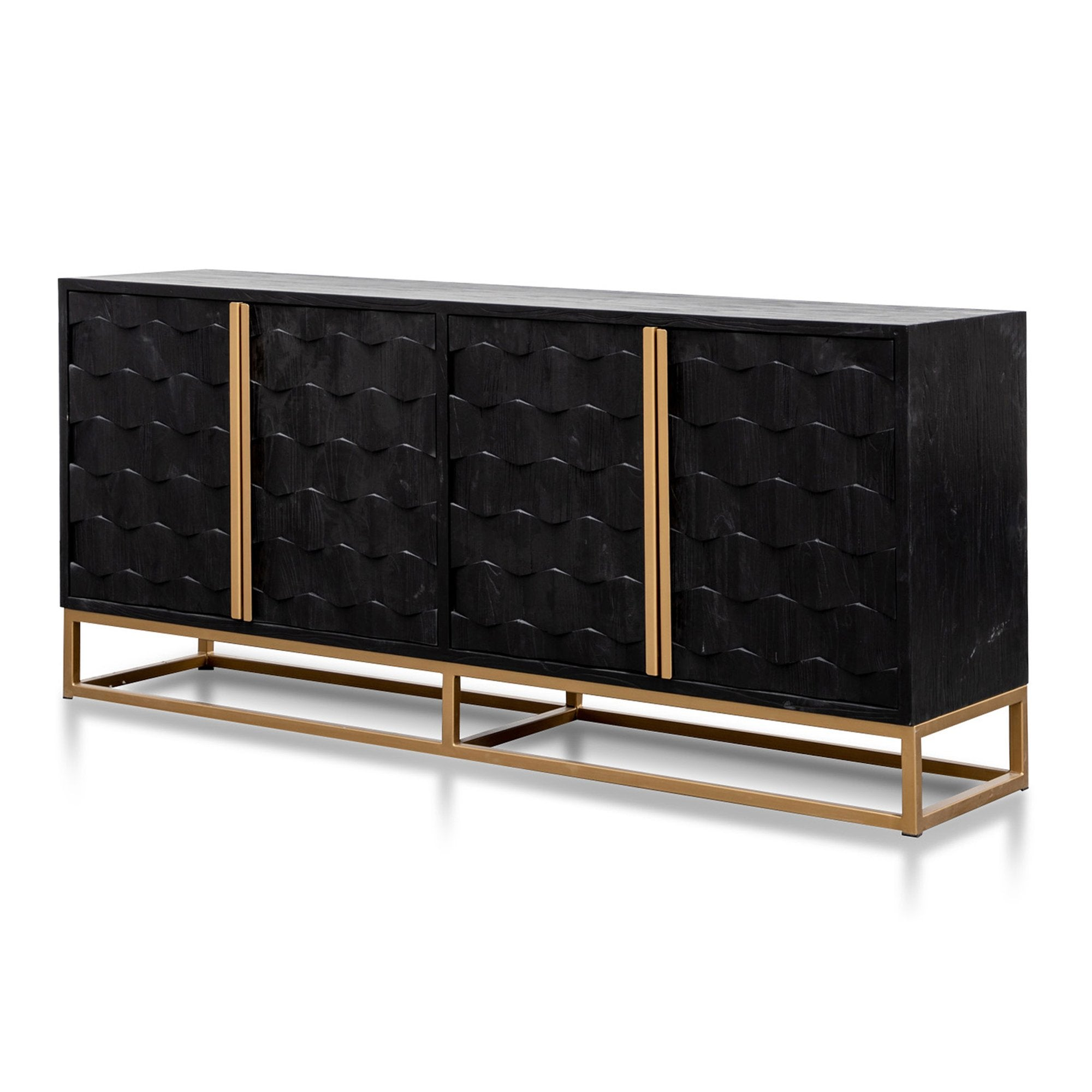 Picture of: Mildred 1 78m Sideboard Black Elm Wood With Gold Ha Interior Secrets