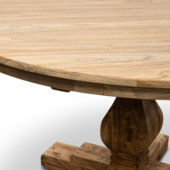 Gene Reclaimed Round Dining Table 140cm With Upgraded Top - Rustic Natural