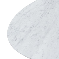 Tulip 2m White Marble Oval Dining Table - Black Base