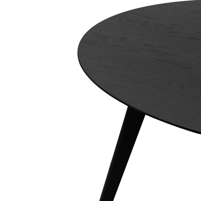 Swanson 1.2m Round Wooden Dining Table - Full Black