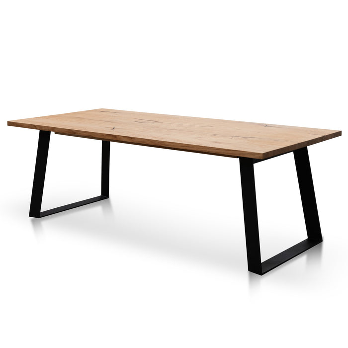 Hudson 2.2m Straight Top Dining table - Rustic Oak - Metal Legs