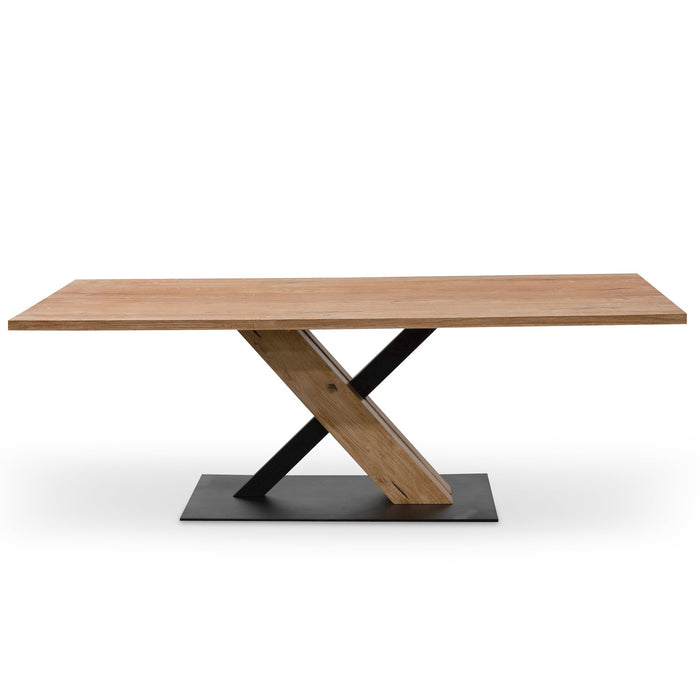 Elma 2.2m Dining Table - Rustic Oak - Wooden Metal base