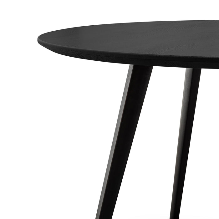 Halo 1.2m Wooden Round Dining Table - Full Black