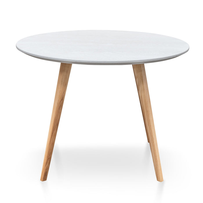 Halo 1m Round Dining Table - Washed White Top - Natural Legs