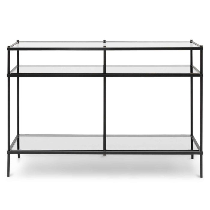 Trevino 1.2m Grey Glass Console Table - Black Base