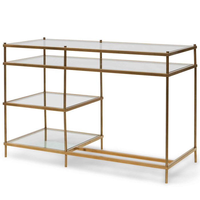 Trevino 1.2m Glass Book Desk - Gold Base