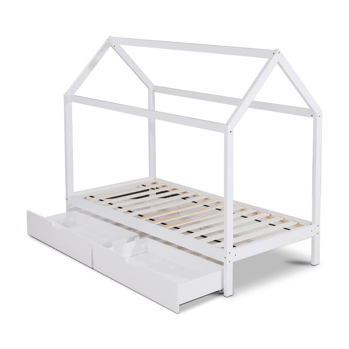 Daria Kids Single Pine Timber Bed Frame - White