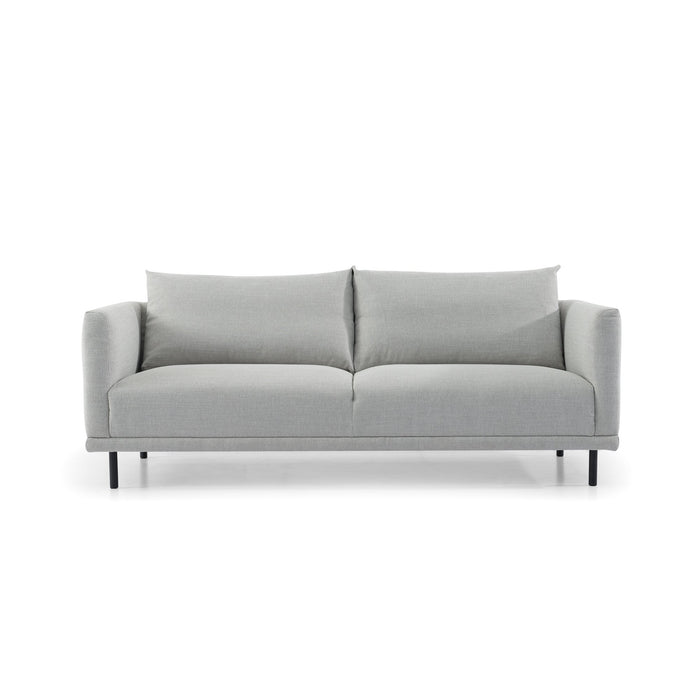 Garner 3 Fabric Seater Sofa - Light Texture Grey with Black Legs
