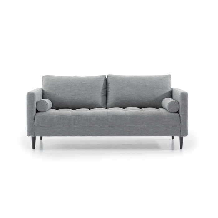 Damon 3 Seater Fabric Sofa - Santorini Blue with Black Legs