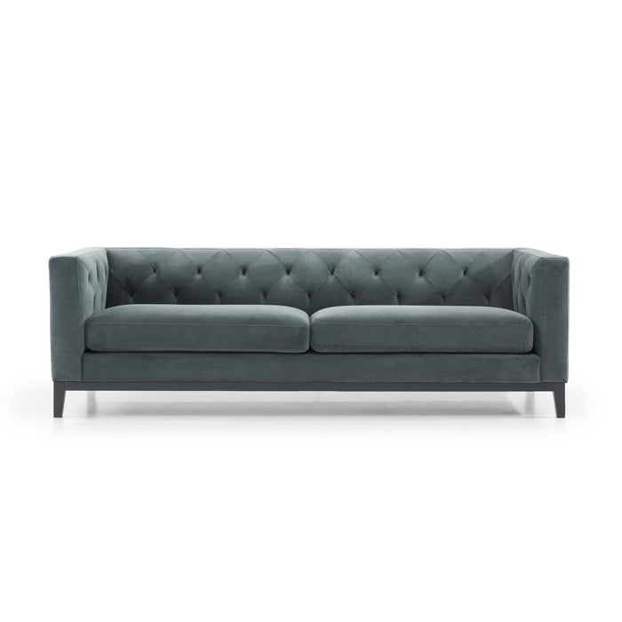 Esther 3 Seater Sofa - Shadow Grey Velvet with Black Base