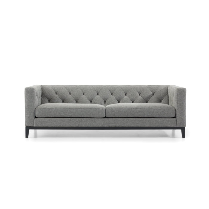 Esther 3 Fabric Seater Sofa - Dark Grey with Black Base