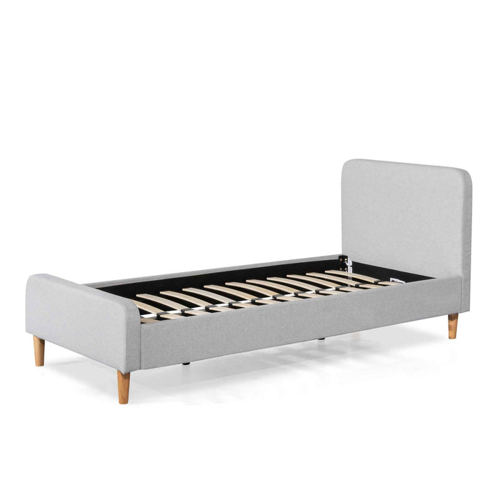 Houston Fabric Single Sized Bed Frame - Rhino Grey