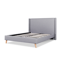 Camille Fabric Wing Queen Bed Frame - Rhino Grey and Natural Legs