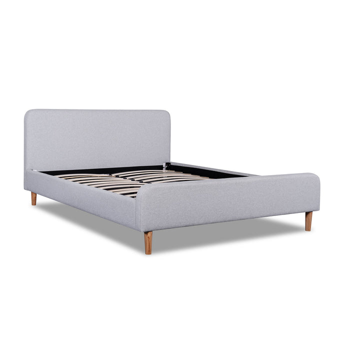 Houston Fabric King Bed Frame - Rhino Grey