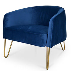 Lena Armchair in Blue With Golden Legs
