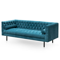 Pilla 3 Seater Chesterfield Fabric Sofa in Velvet Turquoise -2.2m