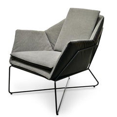 Sally Lounge Chair - Dark Blue PU- Grey