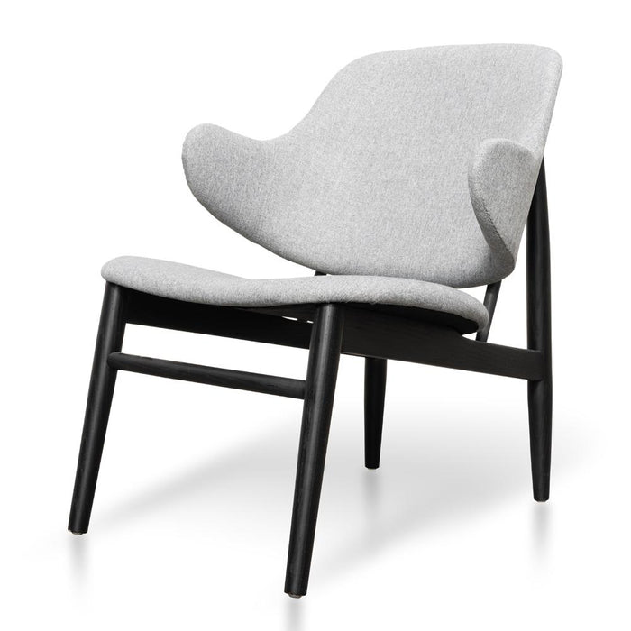 IB Kofod Larsen Fabric Lounge Chair Replica - Light Grey - Black Frame