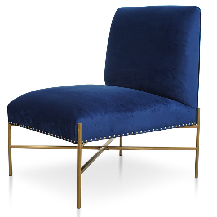 Nikon Velvet Lounge Chair In Blue - Brushed Gold Base